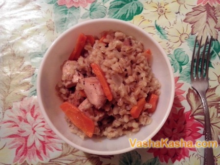 Ready-made barley porridge with chicken
