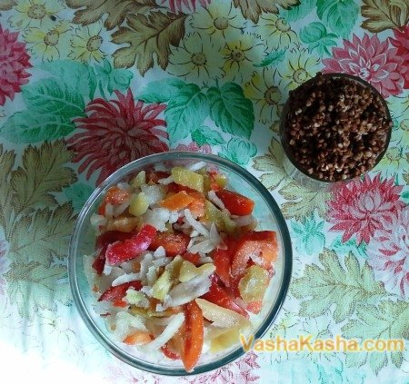 frozen vegetables and buckwheat