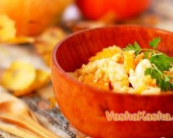 Cooking delicious wheat porridge with pumpkin and meat