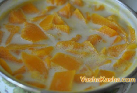 pumpkin pieces with milk