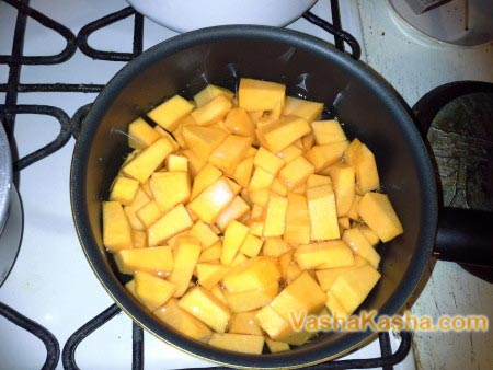 pumpkin slices in the pan