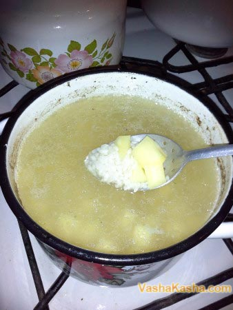 rice and potatoes in broth