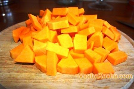 нарезанная тыква кубиками