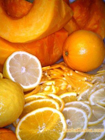 очищение и нарезание апельсин с лимоном