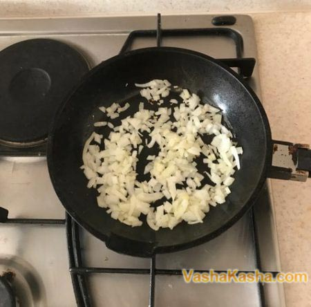 onion and garlic in a pan
