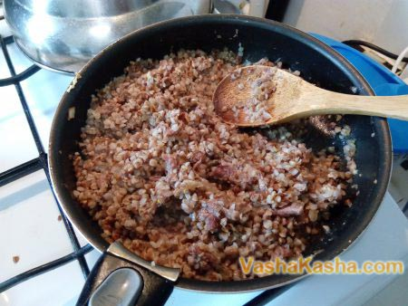 stew in a pan with buckwheat