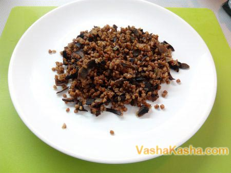 buckwheat with mushrooms on a plate