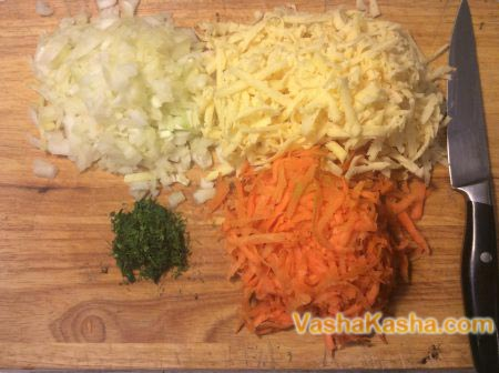 grated vegetables and cheese