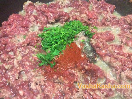 minced meat with herbs and seasonings