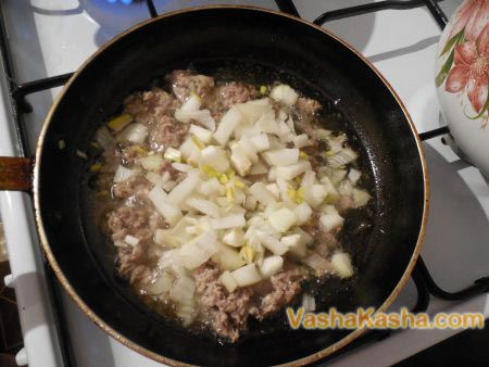 mince with onions in a pan