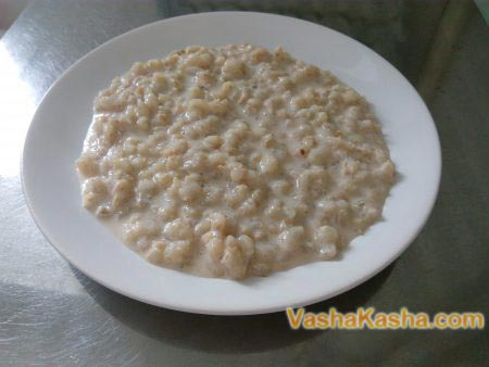 barley porridge on a plate
