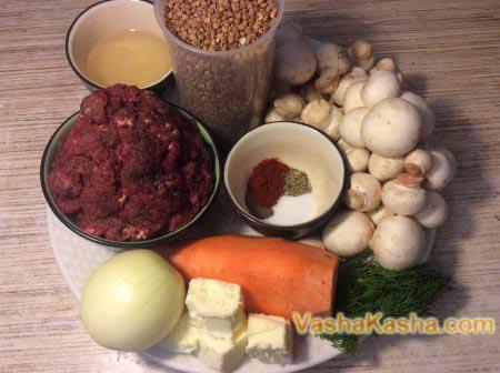 гречка грибы мясо лук морковь