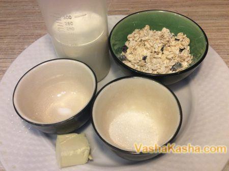 oatmeal, milk, butter, sugar