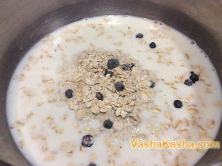 oatmeal with berries in milk