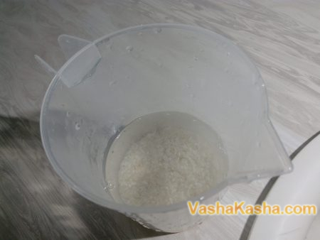 soaked rice in water