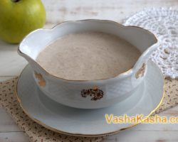 Raw buckwheat porridge with flax flour and cinnamon