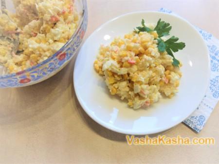 Delicious salad with crab sticks